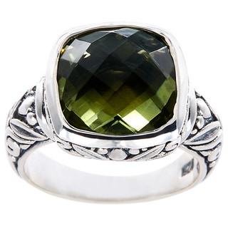 Handmade Sterling Silver Square Green Amethyst Bali Ring (Indonesia)