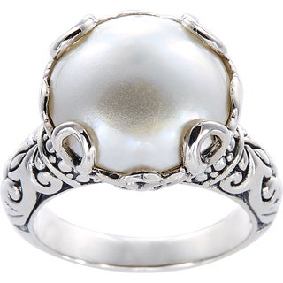 Handmade Sterling Silver Basket Set Mabe Pearl Bali Ring (14 mm) (Indonesia)