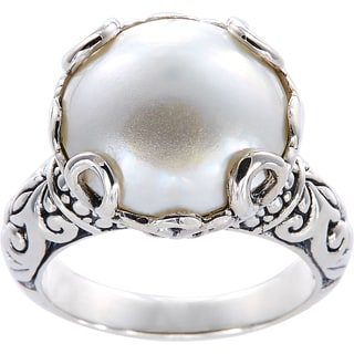 Handmade Sterling Silver Basket Set Mabe Pearl Bali Ring 14 Mm Indonesia White