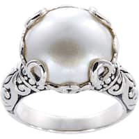 Handmade Sterling Silver Basket Set Mabe Pearl Bali Ring (14 mm) (Indonesia) - White