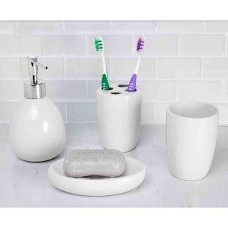Home Basics White Ceramic 4-piece Bathroom Accessory Set