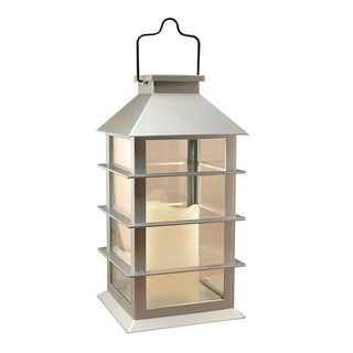 Silver Plastic Solar Powered Lantern with LED Candle