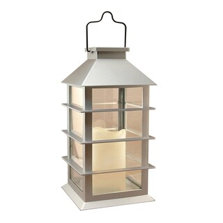 Solar Powered Silver Plastic Lantern with LED Candle
