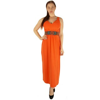 Special One Women's Orange Polyester/Rayon/Spandex Super Plus Size Maxi Dress With Beaded Waist