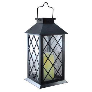Solar Powered Black Tudor Lantern with LED Candle