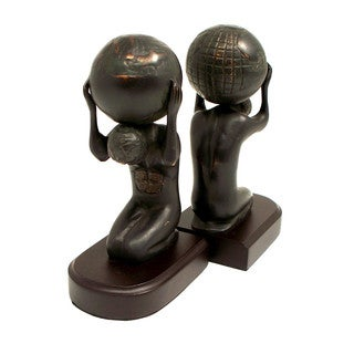 Atlas with Globe Bronze Cast Metal Bookends (Set of 2)