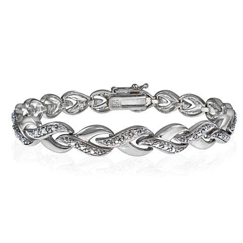 DB Designs Silvertone Diamond Accent Infinity Link Tennis Bracelet
