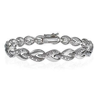 DB Designs Silvertone Diamond Accent Infinity Link Tennis Bracelet