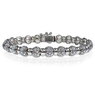 DB Designs Silvertone Diamond Accent Round Tennis Bracelet