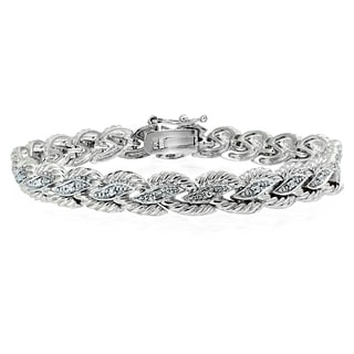DB Designs Silvertone Diamond Accent Braided Tennis Bracelet
