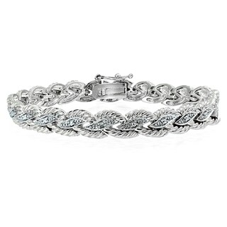 DB Designs Silvertone Diamond Accent Braided Tennis Bracelet