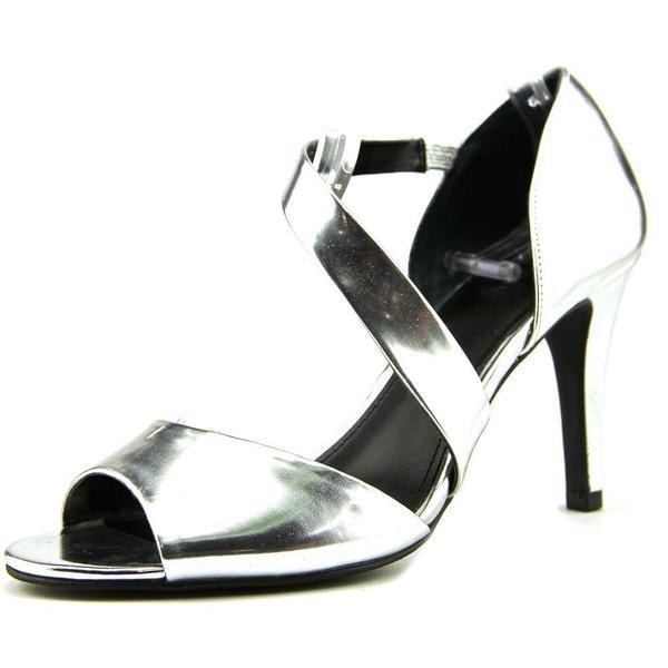 Shop Alfani Women S Mavida Silvertone Faux Leather Sandals