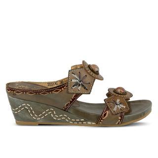 Spring Step Women's L'Artiste Sesame Grey/Brown Leather Wedge Sandals