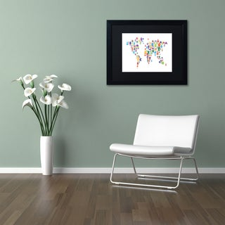 Michael Tompsett 'Robot Map of the World' Matted Framed Art