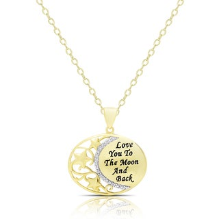 Finesque Gold Overlay Diamond Accent 'Love You To The Moon and Back' Necklace