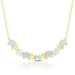 Dolce Giavonna Gold Overlay Blue Topaz and Diamond Accent Elephant Necklace