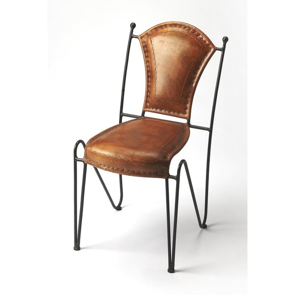 leather side chairs. Butler Transitional Coriander Iron And Leather Side Chair - Medium Brown Chairs