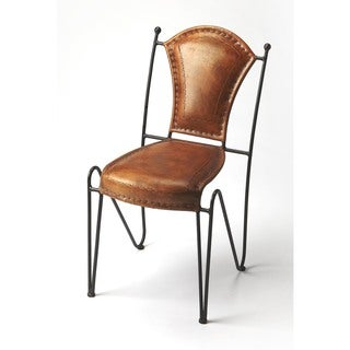 Butler Coriander Brown Leather, Iron Side Chair