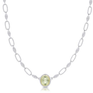 Dolce Giavonna Silver Overlay Green Amethyst Oval Necklace