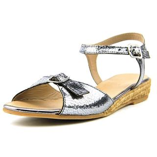 Eric Michael Women's Nobo Grey Leather Ankle-Strap Sandals