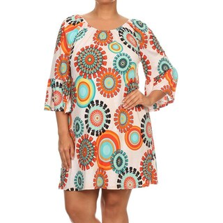 MOA Collection Women's Plus Size Multicolor Abstract Floral Print Dress