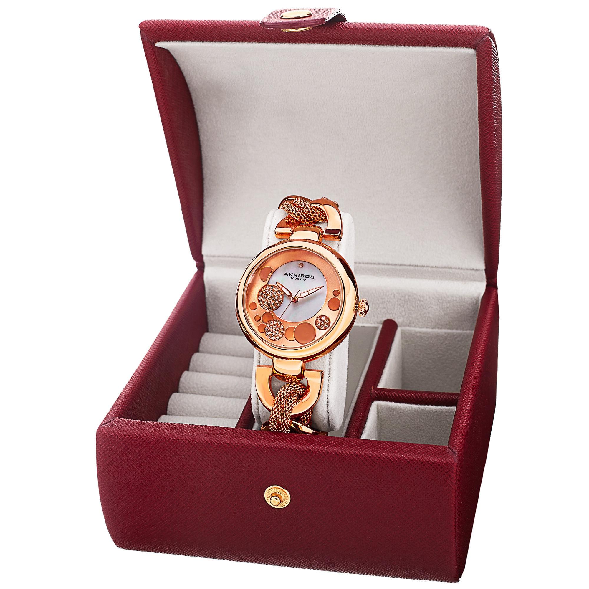 Akribos Xxiv Women's Quartz Rose-Tone Bracelet Watch + Je...