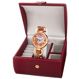 Akribos XXIV Women's Quartz Rose-Tone Bracelet Watch + Jewelry Box
