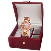 Akribos XXIV Women's Quartz Rose-Tone Bracelet Watch + Jewelry Box