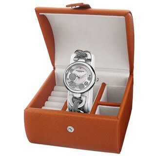 Akribos XXIV Women's Quartz Silver-Tone Bracelet Watch + Jewelry Box