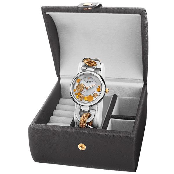 Akribos XXIV Women's Quartz Two-Tone Bracelet Watch + Jewelry Box