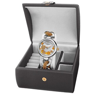 Akribos XXIV Women's Quartz Two-Tone Bracelet Watch + Jewelry Box with FREE Bangle