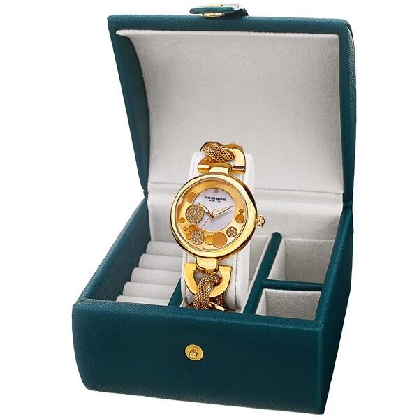 Akribos XXIV Women's Quartz Gold-Tone Bracelet Watch + Jewelry Box. Opens flyout.