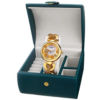 Akribos XXIV Women's Quartz Gold-Tone Bracelet Watch + Jewelry Box