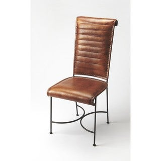Butler Buxton Brown Leather and Iron Side Chair