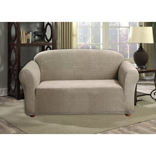 Quick Fit Hayden Diamond Velvet Stretch Form-Fitted Loveseat Slip Cover
