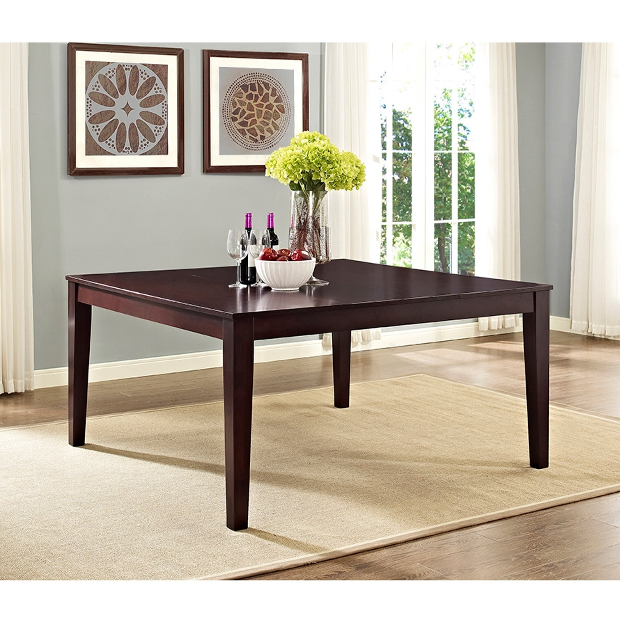 60 Inch Cappuccino Square Wood Dining Table