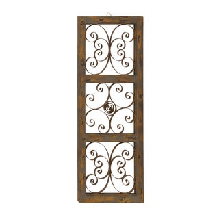 55258 Natural/Brown/Yellow Wood/Metal 14-inch x 1-inch x 36-inch Wall Panel