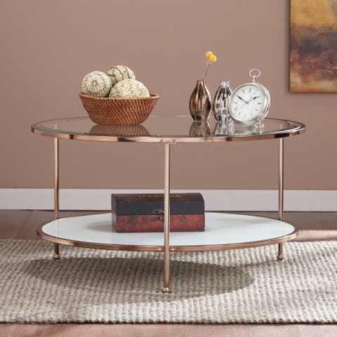Silver Orchid Grant Gold Copper Round Coffee Table