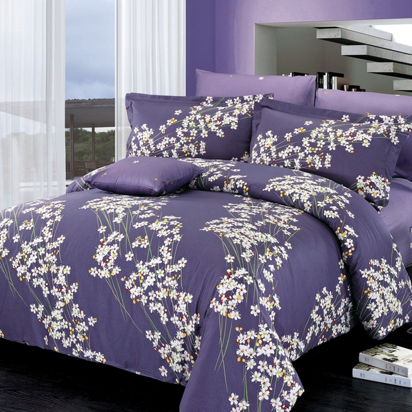 North Home Freesia Purple Cotton Floral 4-piece Duvet Cover Set