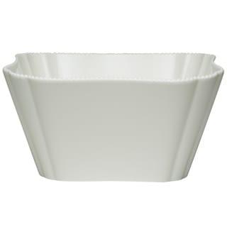 "Red Vanilla Pinpoint White Salad Bowl 9.5"" 128oz"