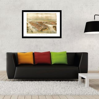New York City Panoramic Map 1874 Print with Black Wood Frame