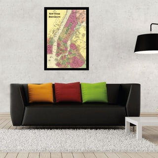 New York and Brooklyn Map Print Poster