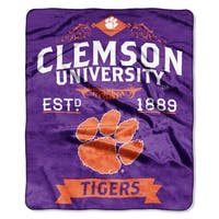 COL 704 Polyester Clemson Label Raschel Throw
