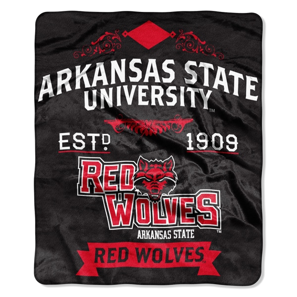 COL 704 Arkansas State University Black/Red Polyester Throw