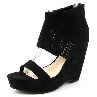 Bar III Women's Siren Black Faux Suede High-Heel Wedge Sandals