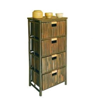 Zew Bamboo Handcrafted 4-drawer Chest Cabinet Storage