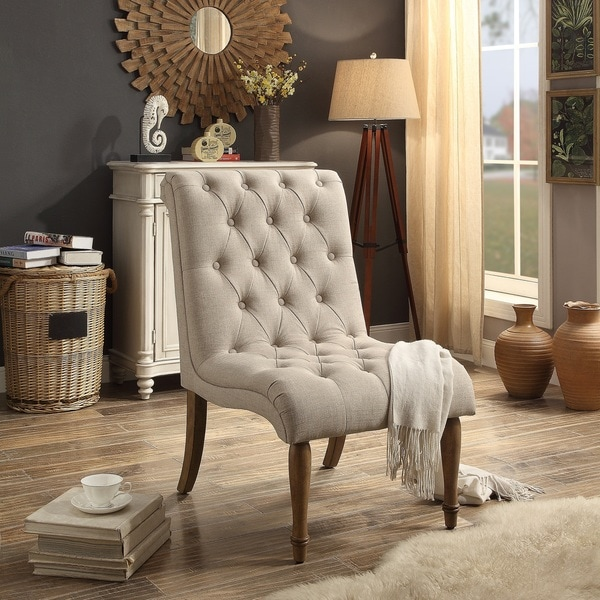 Shop Iris Armless Collection Tufted Accent Chair On Sale