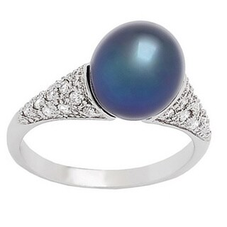 Pearl Lustre Sterling Silver Freshwater Pearl and Cubic Zirconia Ring - White