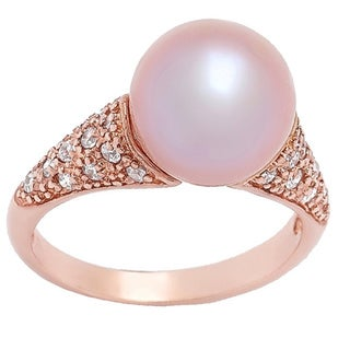 Pearl Lustre Freshwater Pearl and Cubic Zirconia Ring