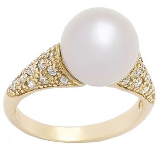 Pearl Lustre Sterling Silver Freshwater Pearl and Cubic Zirconia Ring - Yellow (3 options available)
